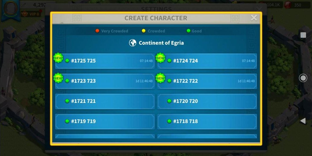 Create New Character Rise of Kingdoms