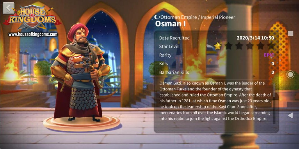 Osman I Rise of Kingdoms Commander