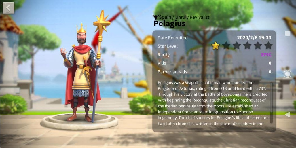 Pelagius Rise of Kingdoms History