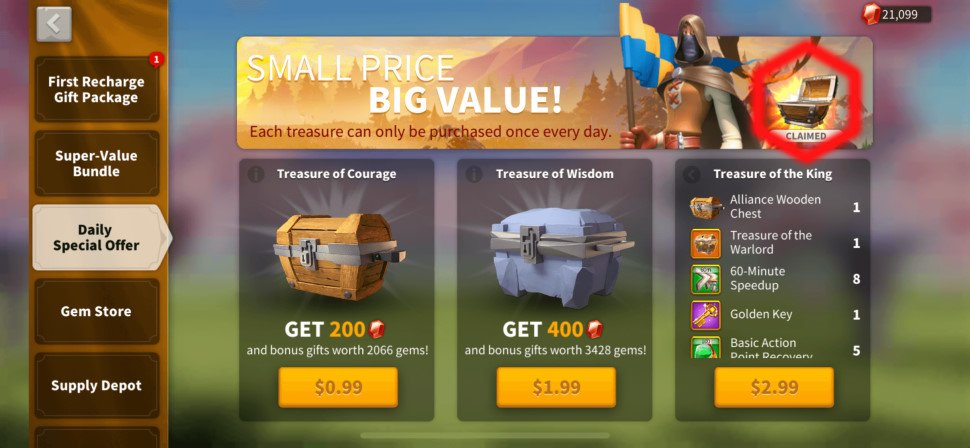 Daily Special Offer Chest Rise of Kingdoms