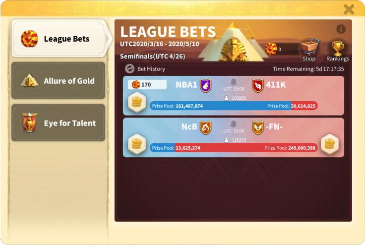 League Bets Ark of Osiris
