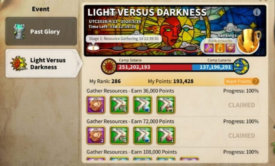 ROK Light and Darkness Event