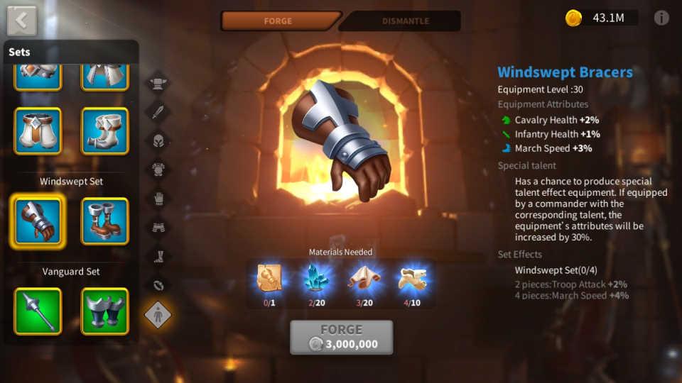 Rise of Kingdoms Farm KvK Equipment
