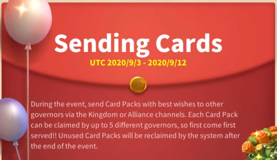 Sending Cards Rise of Kingdoms