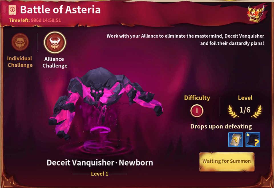 Infinity Kingdom Battle of Asteria Alliance Challenge
