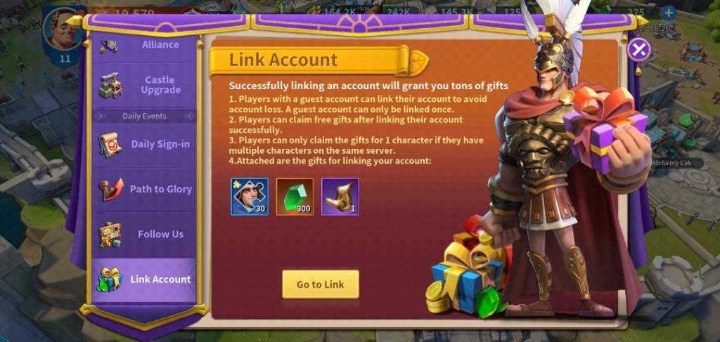Infinity Kingdom Link Account Rewards