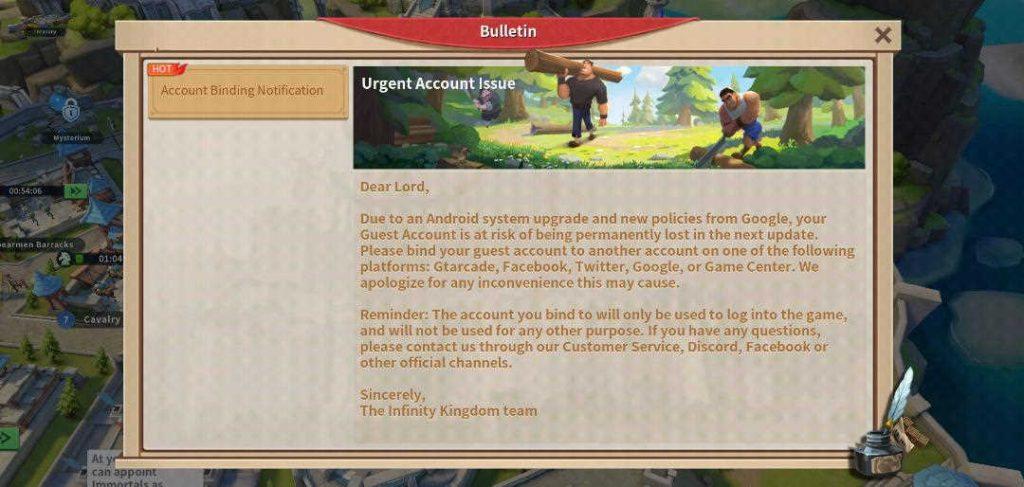 Infinity Kingdom Link Account Warning