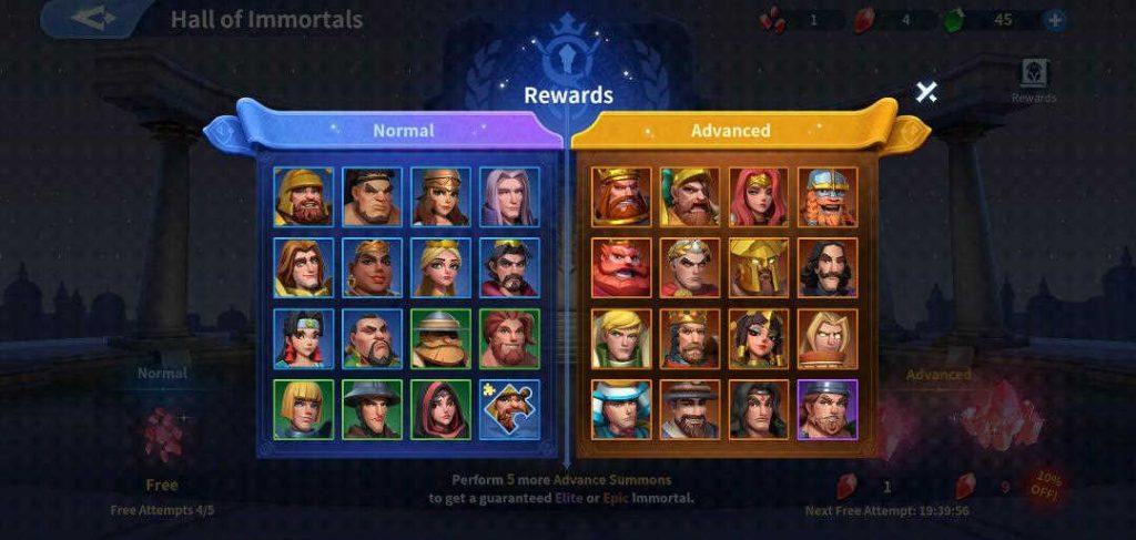 Hall of Immortals Rewards Infinity Kingdom